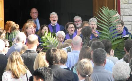 Singing on the steps before the Palm Sunday Processional